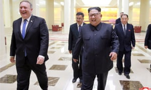 Mike Pompeo and Kim Jong-un in Pyongyang, North Korea on 9 May.