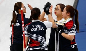 Kim Eun-jung, Kim Kyeong-ae, Kim Seon-yeong and Kim Cho-hi of South Korea celebrate after beating Olympic Athletes from Russia.