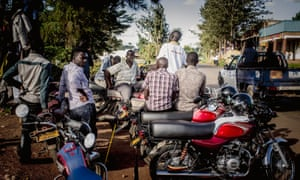 Motorcycle taxi drivers in Uganda