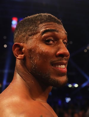 Anthony Joshua looks happy enough with the 10th round stoppage victory.