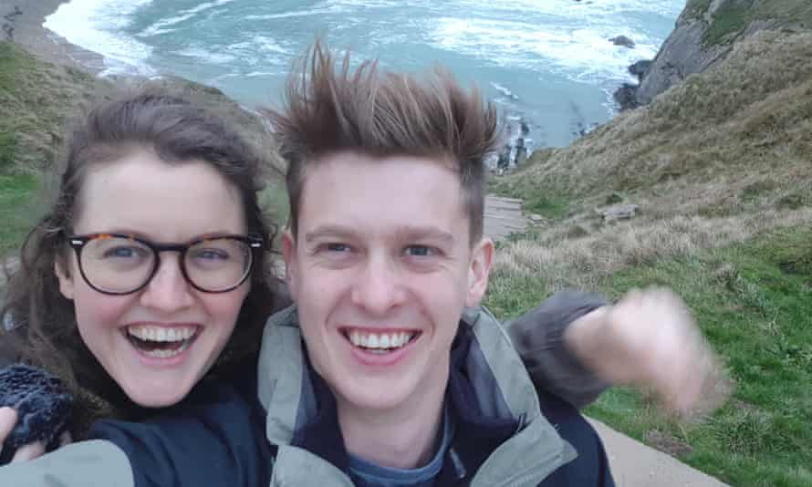 Elliot with his sister at Lulworth Cove, Dorset.