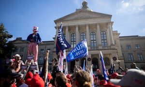 Trump supporters at a 'Stop the Steal' rally outside of the Georgia state capitol on 21 November.