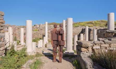 The ancient ruins of Delos are home to UK artist Antony Gormley's Sight, an installation of 29 iron bodyforms.