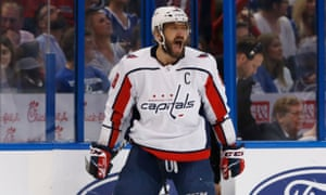 Alex Ovechkin celebrates after scoring one of the Capitals' four goals against Tampa Bay
