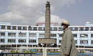 A pedestrian in Addis Ababa, Ethiopia, on 26 May.