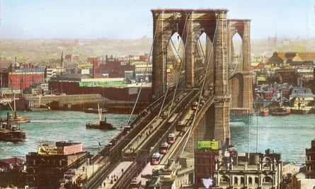 Brooklyn Bridge c1890. Toll charges were removed in 1911, and the streetcar tracks ripped up by the 1950s.