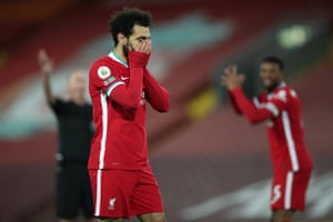 Mohamed Salah of Liverpool reacts.