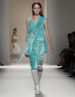 A mint-green, crushed velvet dress from the Victoria Beckham show.