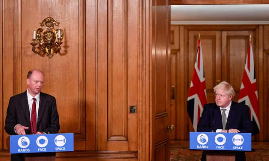 Boris Johnson and Chris Whitty at No 10 on 12 October