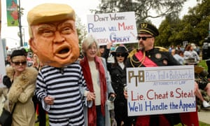 Protesters outside a fundraising event attended by Donald Trump in Beverly Hills, California, March 2018.