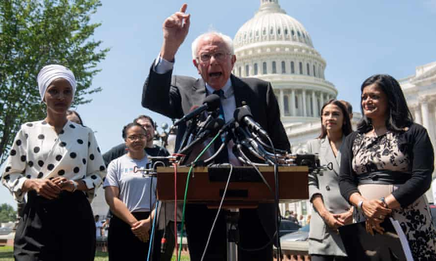 Sanders with Alexandria Ocasio-Cortez, Ilhan Omar and Pramila Jayapal. Data shows nations are not on track to limit the dangerous heating of the planet significantly enough.
