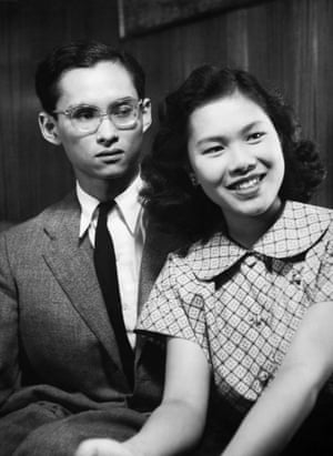Portrait of Bhumibol Adulyadej aged 21 years old with his future wife Sirikit Kitiyakara (17 years old) in 1949