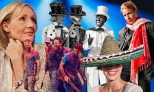Images of cultural appropriation and/or people associated with the topic. (Left to right) JK Rowling, Coldplay, Minstrels, a sombrero hat, Lionel Shriver.