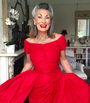 Nicola Redcliffe in her late 1950s red taffeta cocktail dress by US label Suzy Perette