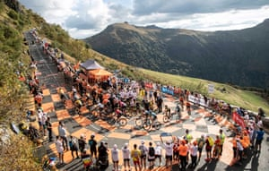 Riders on the Puy Mary climb on stage 13 from Chatel-Guyon to Puy Mary.