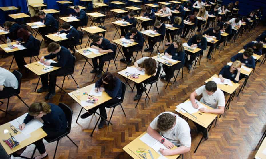 schoolchildren sitting gcses in wales