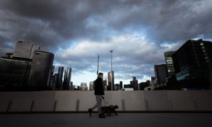 A man in Docklands during Melbourne's stage-four lockdown