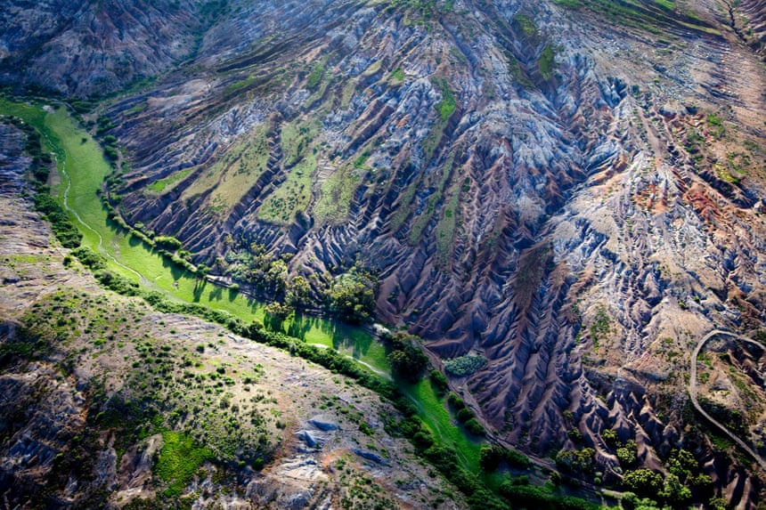Aerial view of a mountainous landscape on St Helena, an overseas British territory.