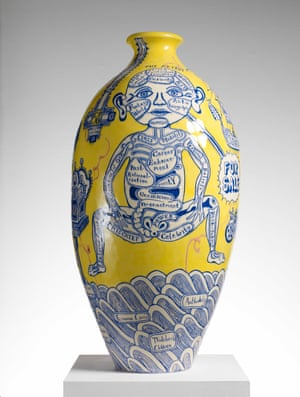 Grayson Perry's The Rosetta Vase ,now part of My Pretty Little Art Career at the Museum of Contemporary Art, Sydney.