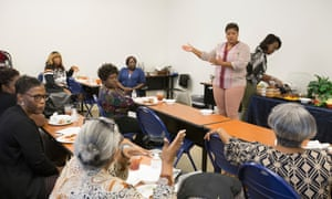 Veronica Whalon-Peters, director with Methodist children's home, speaks at a Grand Parents Support group meeting in Houston.