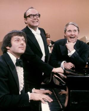 André Previn at the piano with Eric Morecambe and Ernie Wise