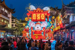 Shanghai, China: A rat lantern in the Yuyuan Garden, part of a display to mark the lunar new year, the year of the rat, which starts on 25 January