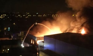 Fire crews tackle the blaze in Tottenham on Friday night.