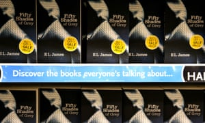 bookshop shelves of Fifty Shades of Grey