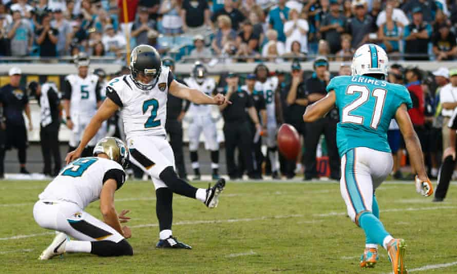 Jason Myers kicks the game-winning field goal for the Jaguars against the Dolphins.