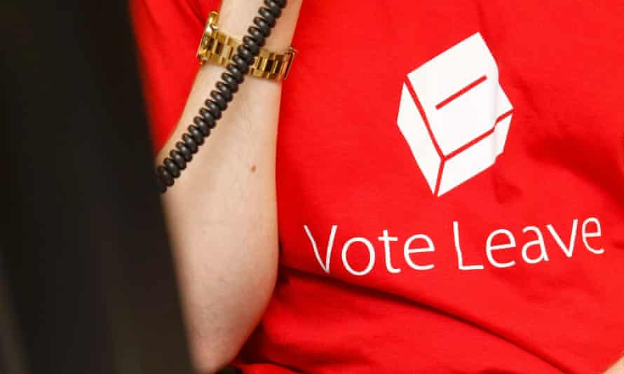 A campaign worker in a T-shirt for the 'leave' camp.