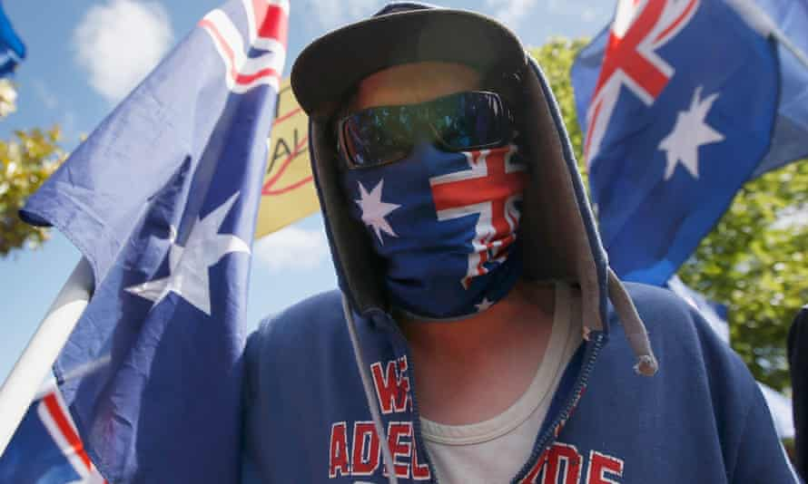 Rightwing protester in mask