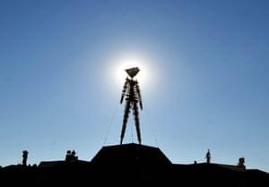 The Burning Man effigy in the Nevada desert