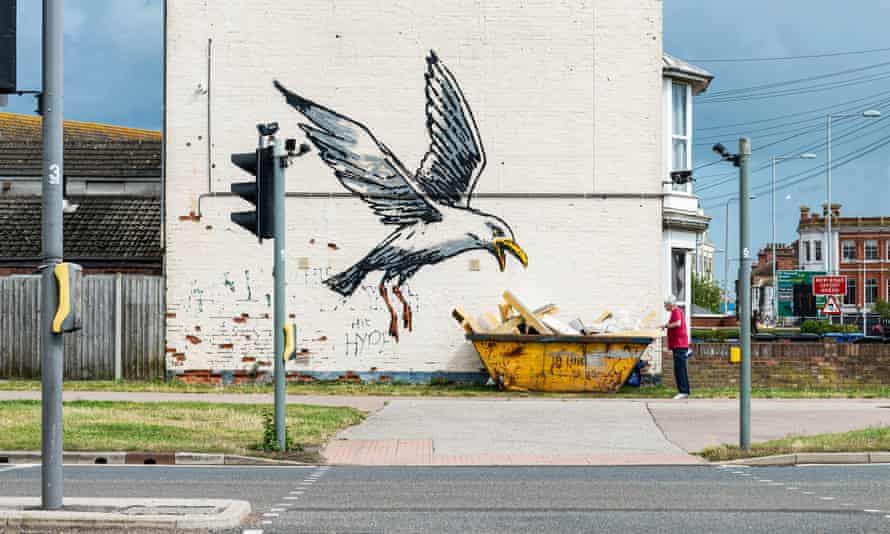 One of the new works by Banksy, on the side of a house in Lowestoft.