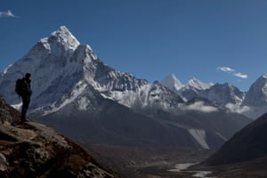 A trekker in the Himalayas, Nepal.