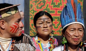 Indigenous people from the Mesoamerican Alliance of Peoples and Forests protest outside the UN climate change conference in Marrakech, Morocco