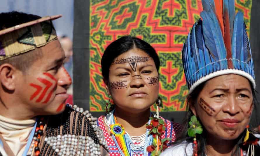 Indigenous people from the Mesoamerican Alliance of Peoples and Forests protest at the climate change talks in Marrakech, Morocco.