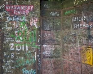 Beatles grafitti on the gates of Strawberry Field