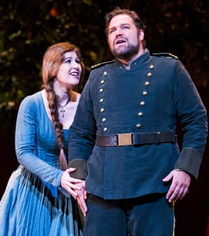 Nicole Car as Micaela with Bryan Hymel as Don Jose, in Georges Bizet's Carmen at Royal Opera House, London