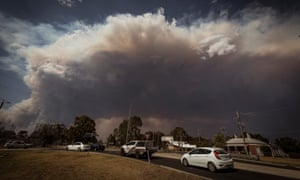 A smoke plume 12km high generated by the East Gippsland fires is seen from the north of Bairnsdale in Victoria, Australia.