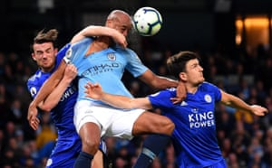 6 May 2019: Kompany battles Leicester City's Ben Chilwell and Harry Maguire during a vital match in the title race.