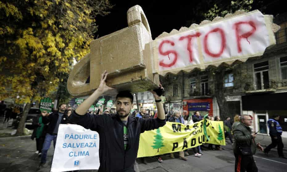 A protest in Bucharest against illegal logging