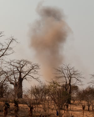 A landmine found by the women is detonated by Halo Trust engineers