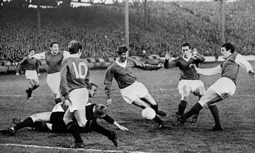 Action from Rangers' home game against Hibernian during the 1967-68 season, with Alex Ferguson among those in view.