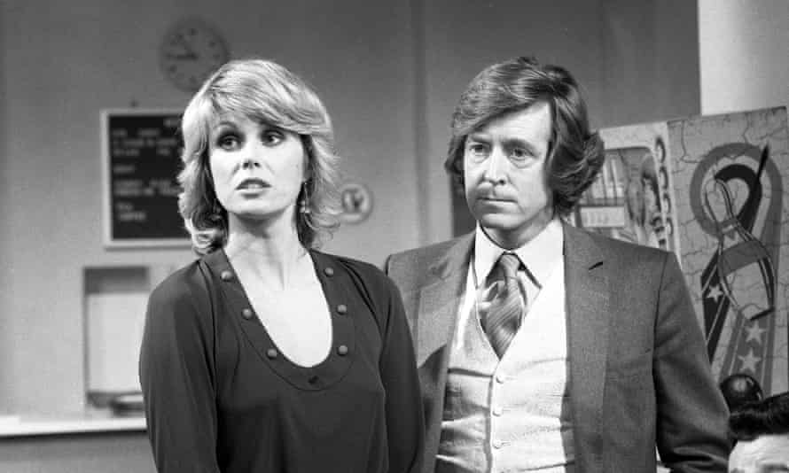 David Collings as Silver and Joanna Lumley as Sapphire in the television series Sapphire and Steel, which ran from 1979 to 1982.