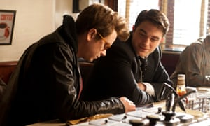 Dane Dehaan (playing James Dean) and Robert Pattinson (Dennis Stock) star in the biopic Life.