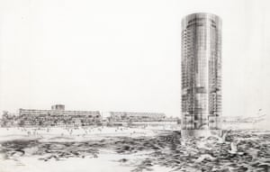 Daniel, Mann, Johnson and Mendenhall (DMJM) Pacific Ocean Park Redevelopment: Drawing of cylindrical tower emerging from ocean by renowned renderer Carlos Diniz