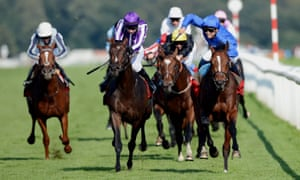 Mickael Barzalona and Encke (right) beat hot favourite Camelot to win the St Leger Stakes at Doncaster in 2012.