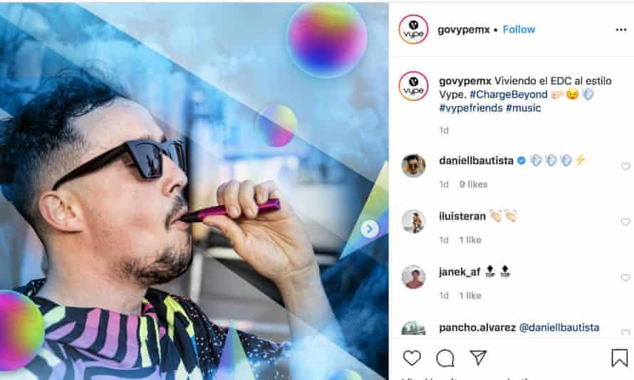 A man with e-cigarette next to hashtags vape friends
