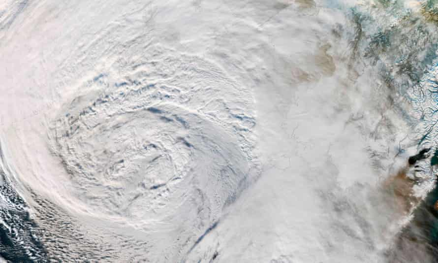 Satellite image showing a storm over the Bering Sea moving towards Alaska.