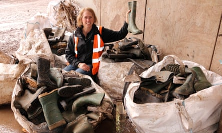 Size eight, anyone? Some of the thousands of wellies left behind.